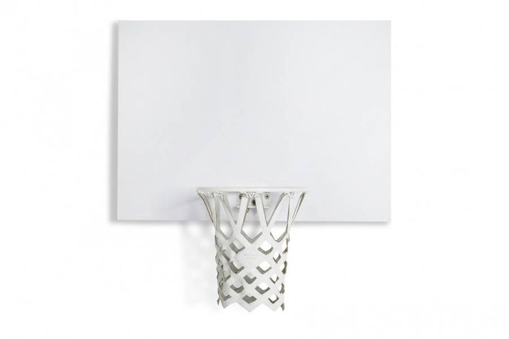 All-White Indoor Mini Basketball Kit  New York-based design studio Snarkitecture which we already present the work revisited the miniature basketball kit imagined by Killspencer one year ago. The original creation was entirely made in black and gold. Snarkitecture chose to propose an all-white edition that is the signature of the studio. The creation is composed of a leather net a gloss white rim and a laminate backboard.        #xemtvhay