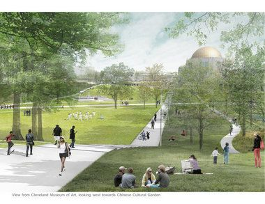 A bold proposal by Sasaki Associates of Boston would create a new greenway sweeping across Rockefeller Park and the Cleveland Museum of Art grounds to link the east and west portions of the Case Western Reserve University campus.