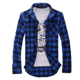 camisa xadrez masculina azul