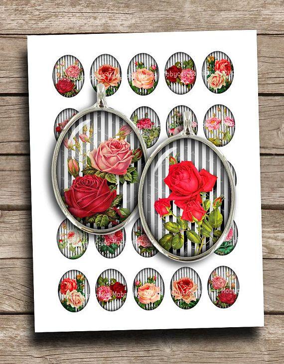 Oval Printable Roses 13x18mm 18x25mm 30x40mm 22x30mm B&W