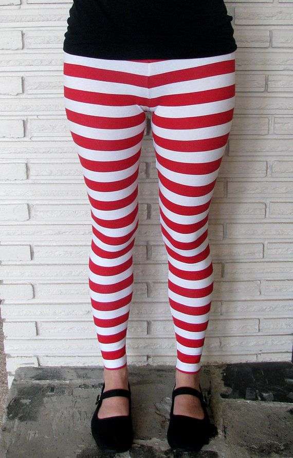 Womens Red And White Striped Leggings