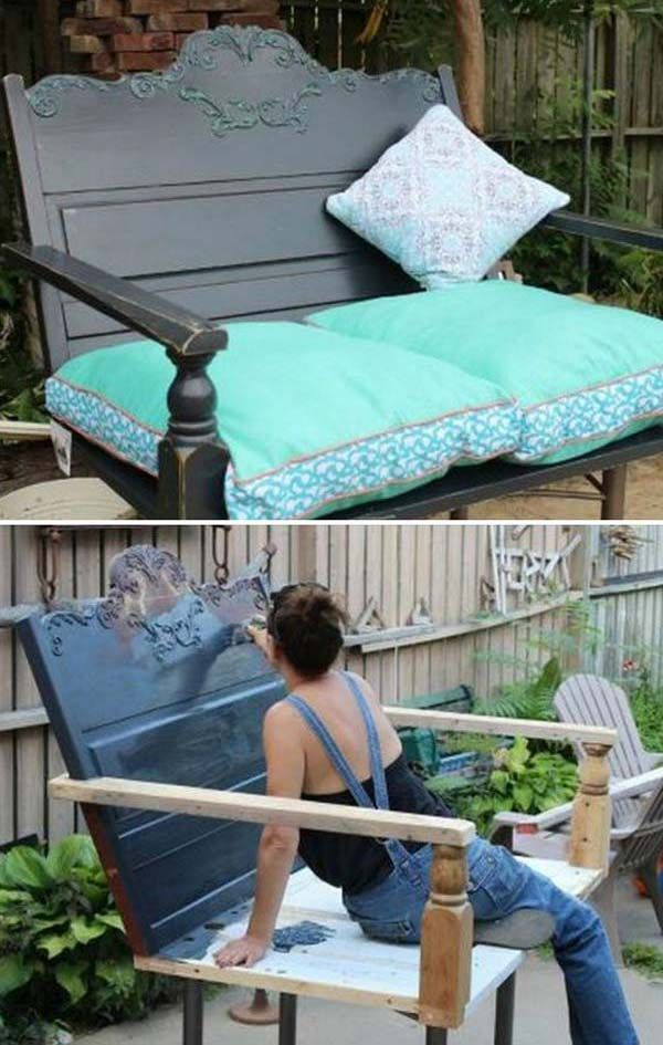 Build A Porch Swing From A Recycled Headboard | Awesome Old Furniture Repurposing Ideas for Your Yard and Garden