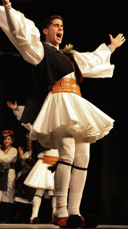 #festive #traditional #Macedonian #costume from of the Janissaries worn during the Apokries (Carnivale) season in Naoussa, #Macedonia #Greece. It is also usually accompanied by a #mask and a vest of coins. #Hellenic #dancers of #newjersey