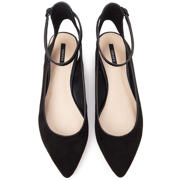 Forever 21 Women's  Pointed Ankle Strap Flats (56.370 COP) ❤ liked on Polyvore featuring shoes, flats, zapatos, heels, pointy ankle strap flats, pointed-toe ankle-strap flats, small heel shoes, pointed toe shoes and ankle strap flats