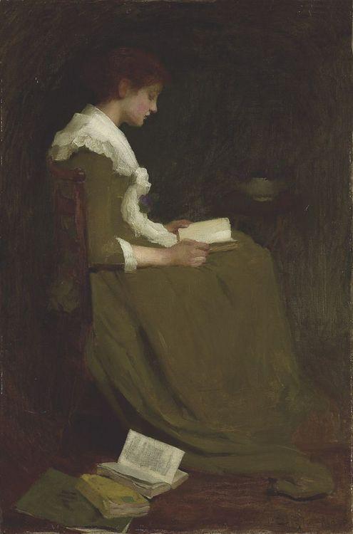 poboh:  Girl reading, Isabel Codrington. English (1874 - 1943)