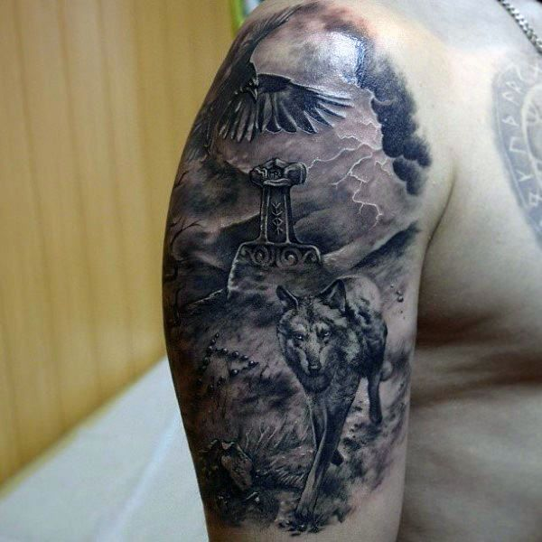 Awesome Wolf With Mjolnir Mens Half Sleeve Tattoo Ideas