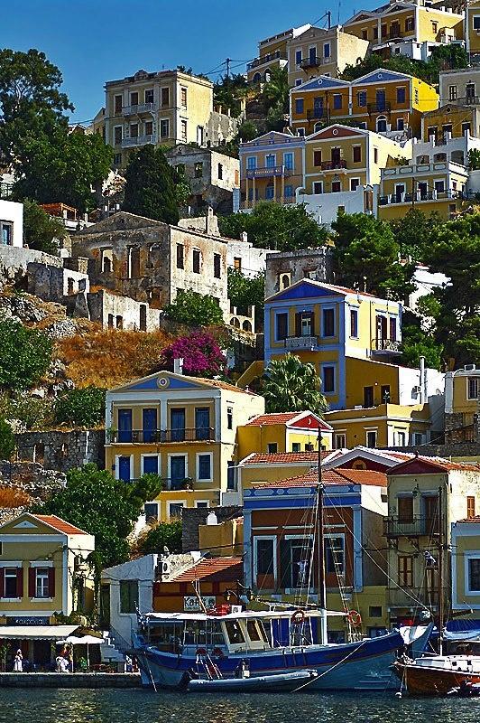 Beautiful houses on Symi island, Greece