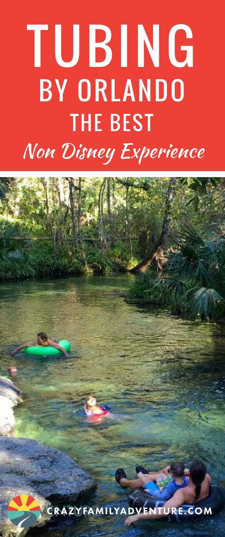 Tubing by Orlando, Florida. The best Non Disney experience in #Orlando. Great family travel destination idea of something to do other than Disney World in Orlando, Florida with kids is tubing down the Kelly Rock Springs #nondisneyexperience #tubing #thingstodoinorlando #familytravel #kellyrocksprings #florida