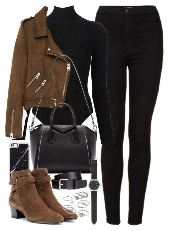 """Outfit with black jeans, brown suede jacket and boots"" by ferned on Polyvore fe…"