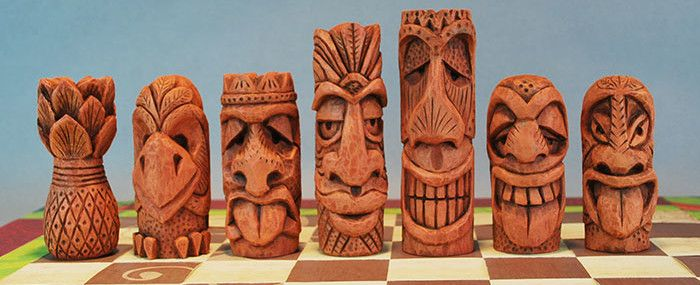 Whittle Tiki Chess Set Carving