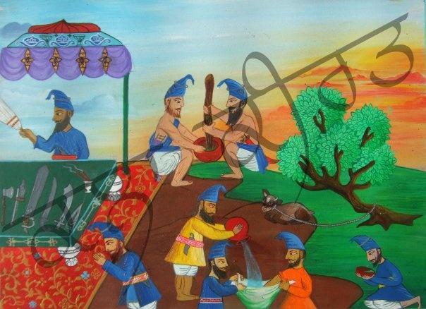 Miniature painting style mimic of Nihangs - weapon worship, bhang prep. Acrylics on masonite - Keeart