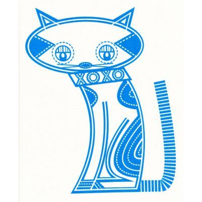 Lisey Meow Meow Blue on Cream Craft Panel   Fabric Panels   Fabrics to Inspire - Kelani Fabric