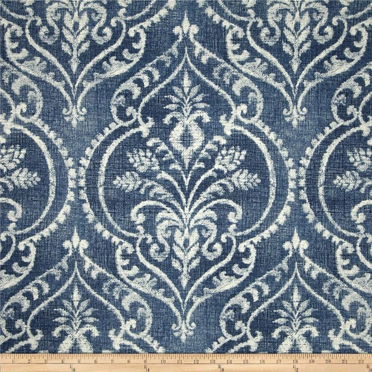 Swavelle/Mill Creek Dalusio Damask Denim Screen printed on cotton duck;  medium weight. Colors include white and blue.