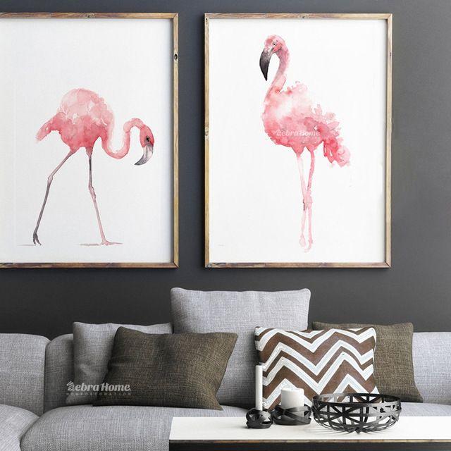 Flamingo Pintura Em Aquarela, Fotos de Pássaros cor de rosa, rosa Cópia Da Arte Abstrata, Flamingos Quarto Nursery Quarto Define Para Casa Presente