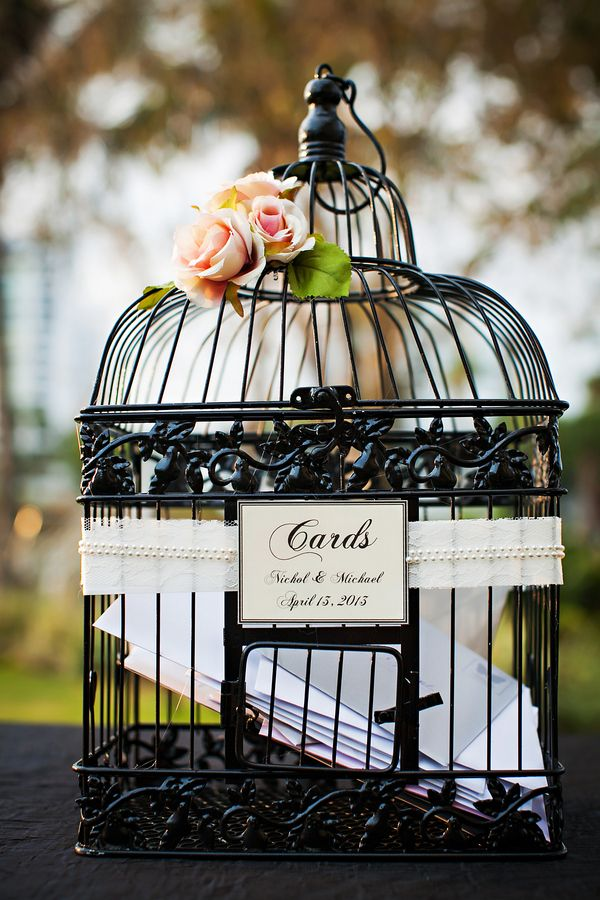 Gorgeous birdcage wedding gift card holder in classic black