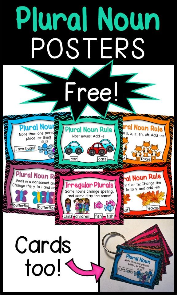 FREE! These are helpful for introducing, reviewing, and practicing plural noun rules! They contain a brief explanation, a helpful picture, and an example.