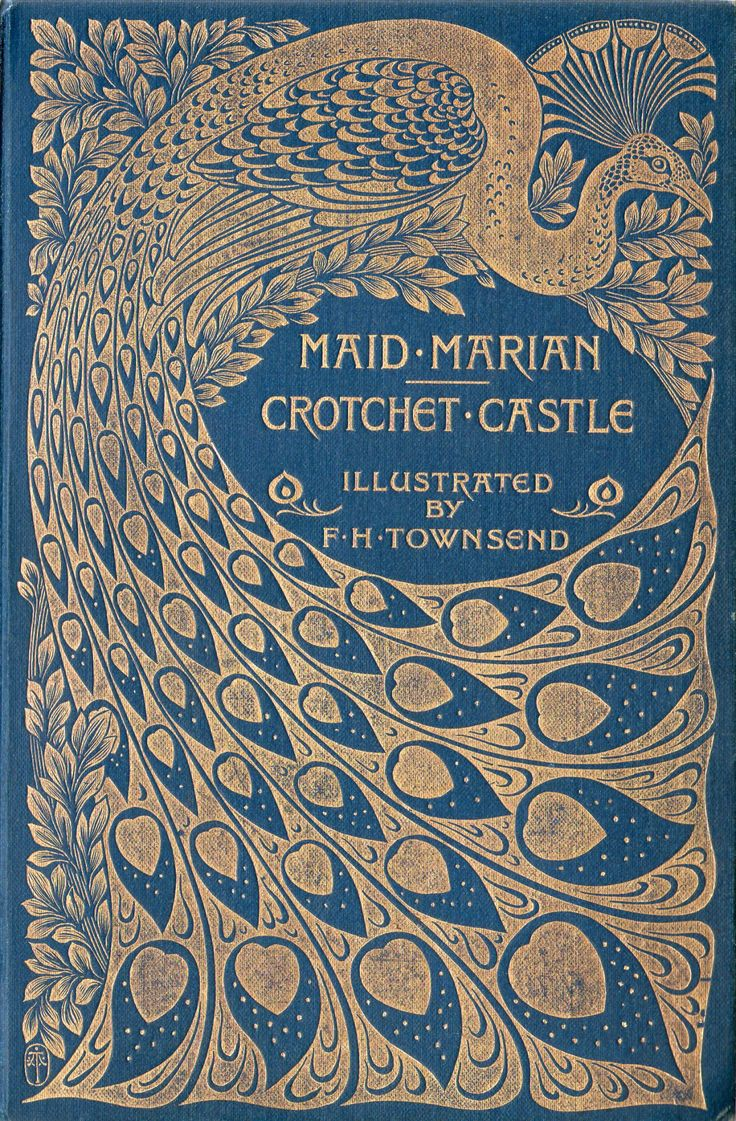Beautiful Peacock Design Art Nouveau Book Cover