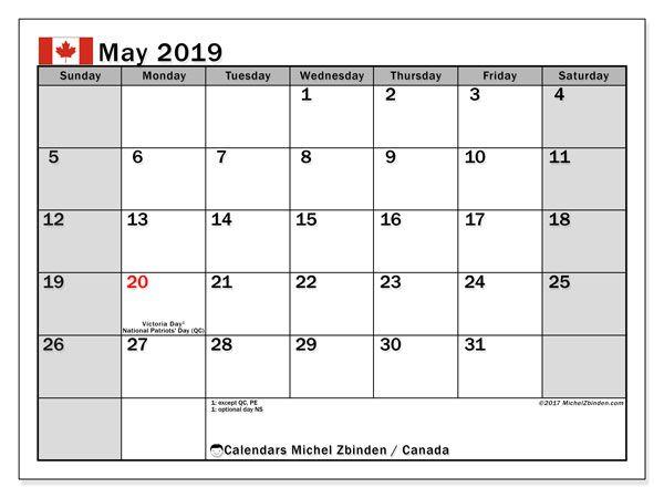 Calendar May 2019 Canada Michel Zbinden En Calendar Printables 2019 Calendar Free Printable Calendar