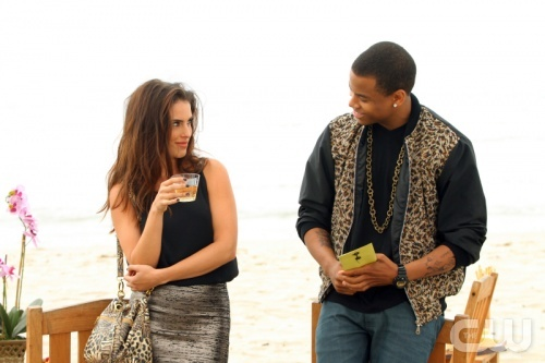 "90210 -- ""We're Not Not In Kansas Anymore"" Pictured (L-R): Jessica Lowndes as Adrianna and Tristan Wilds as Dixon."