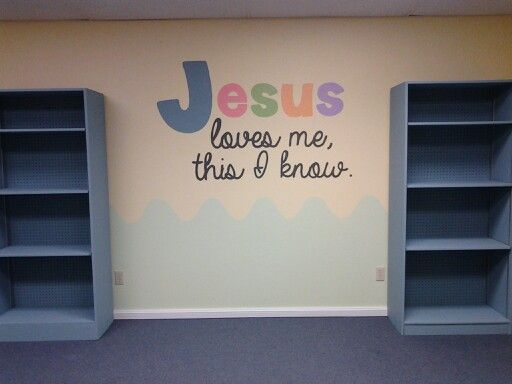 """Bible Verse with colorful 'Jesus"""", something for parents to see as they walk in that helps them feel secure leaving their little ones during service."""