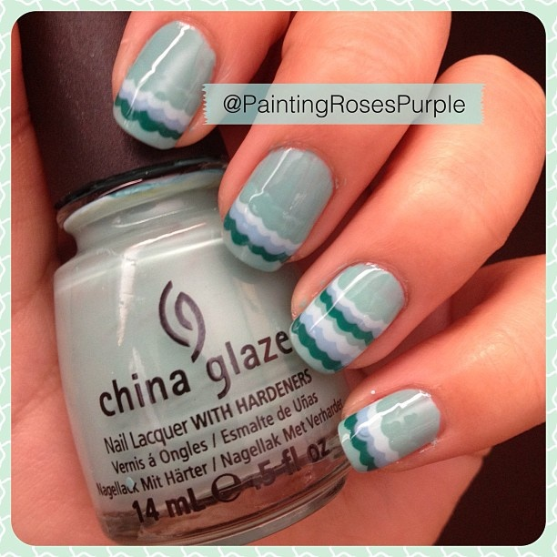 Scallop nail art design on China Glaze 'For Audrey'