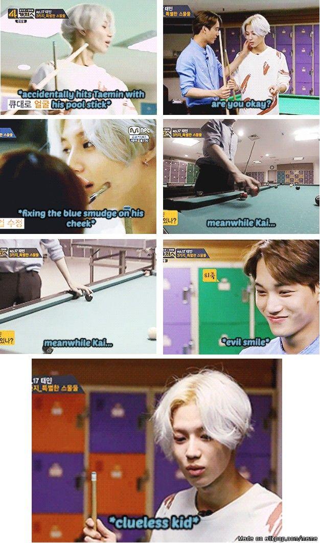 Kai tricking Taemin in their game~ ^^ | allkpop Meme Center