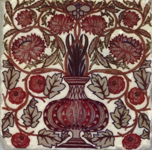 William Morris Flowerpot Tiles    This tile is adapted from a William Morris design and first implemented as a pillow by his younger daughter, May Morris.