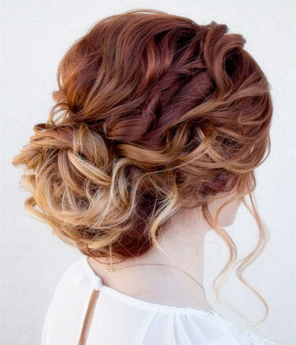 Up-do hairstyle with messy rose brown hair color, nice and fashion