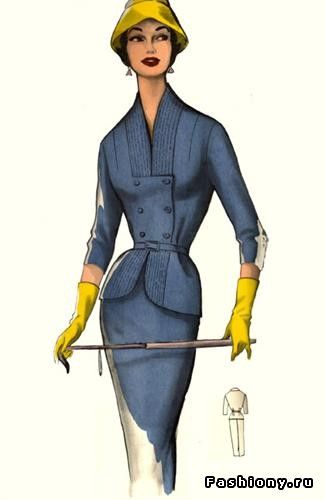 Barbara Prysbyszewski: Suits in the 1950s were fitted, but the real difference from today is the many details. This one has multiple rows of top stitching at the top and bottom and then a double-breathed closure. Burda