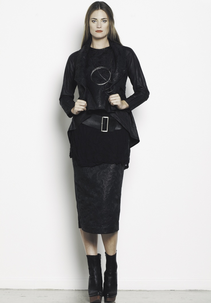 Crop Throw, Curve Hem Shell, Overlay Tunic, Yoke Straight Skirt, Belt. In store now.