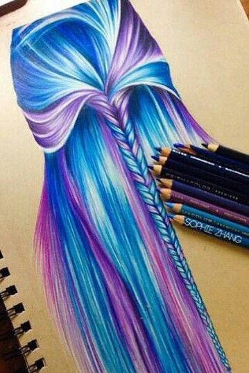 blue and purple hair color drawing