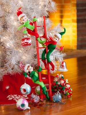 Elf Ladder Christmas Decoration | Pixie Elves - Set of 3 | Christmas Elf Ornaments | Vermont Country ...