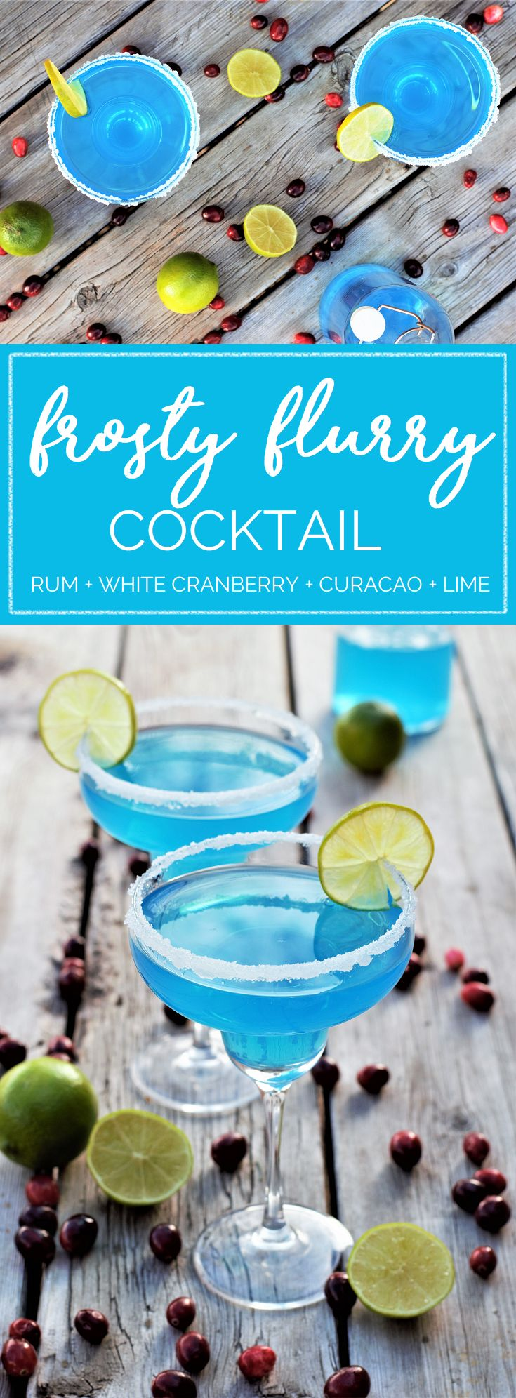 Gorgeous icy blue cocktails with rum, white cranberry, curacao, & lime rimmed with sparkling snowflake sugar to bring on the snow for a blue blue Christmas!