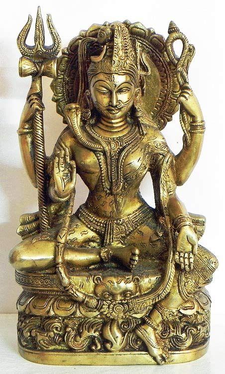 Ardhanarishvara (Brass) Ardhanarishvara form of Lord Shiva. Shiva is sometimes represented as half man, half woman. His figure is split half way down the body, one half showing his body and the second half that of Parvati's. Indian bronze statue.