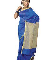 Buy Blue plain art silk saree with blouse south-indian-saree online