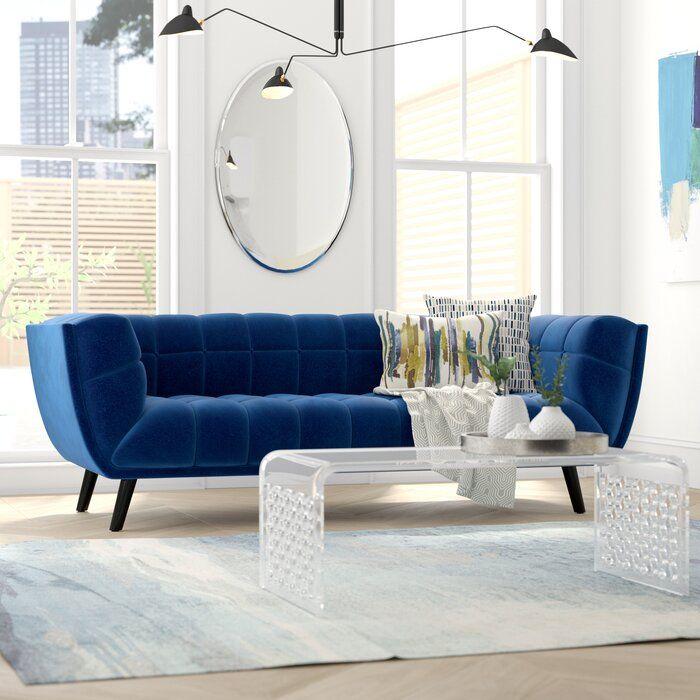 Seneca Velvet 86 Round Arm Sofa Blue Couch Living Room Blue Furniture Living Room Living Room Seating