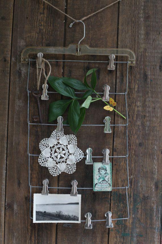Another cute ephemera or keepsake display using repurposed vintage slacks hanger...