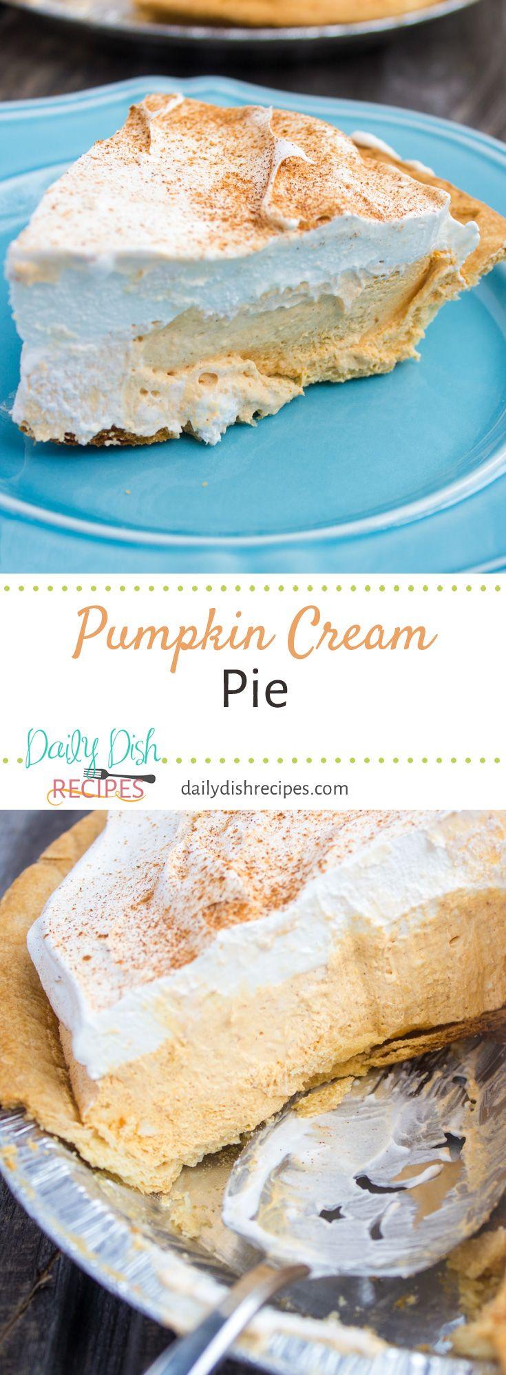 Pumpkin Cream Pie via @dailydishrecipes