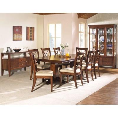 arlington round sienna pedestal dining room table w chestnut finish. we still need a dining room table. arlington round sienna pedestal table w chestnut finish g