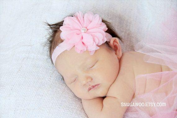 Newborn flower headband, baby girl bow, newborn photo prop, new baby gift, newborn pictures, flower bow, flower headband, pink bow, baby