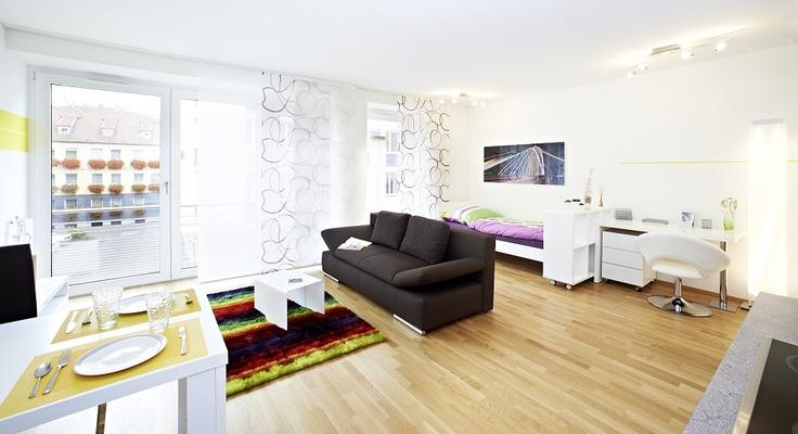 Studentenwohnungen in Nürnberg ab ca. 85.000 € ($111,000).  Sie können sich auch vorstellen, hier zu wohnen? Dann pinnen Sie das Bild an eine Ihrer Pinnwände!