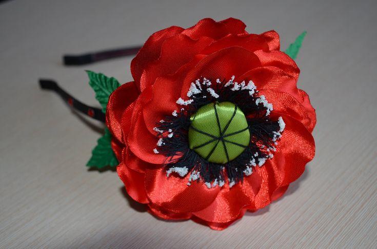 Канзаши Мастер класс Красный мак ободок для волос канзаши DIY red flower...
