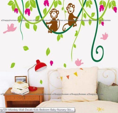 HUGE-Cheeky-Monkey-Jungle-Birds-Wall-Stickers-Childrens-Bedroom-Nursery-Decor