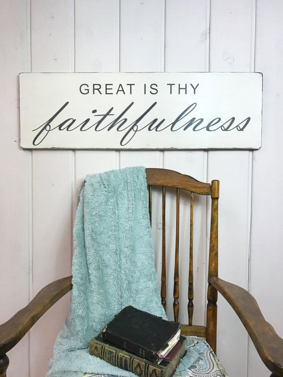 Great is thy faithfulness sign christian sign by VintagebarnArt