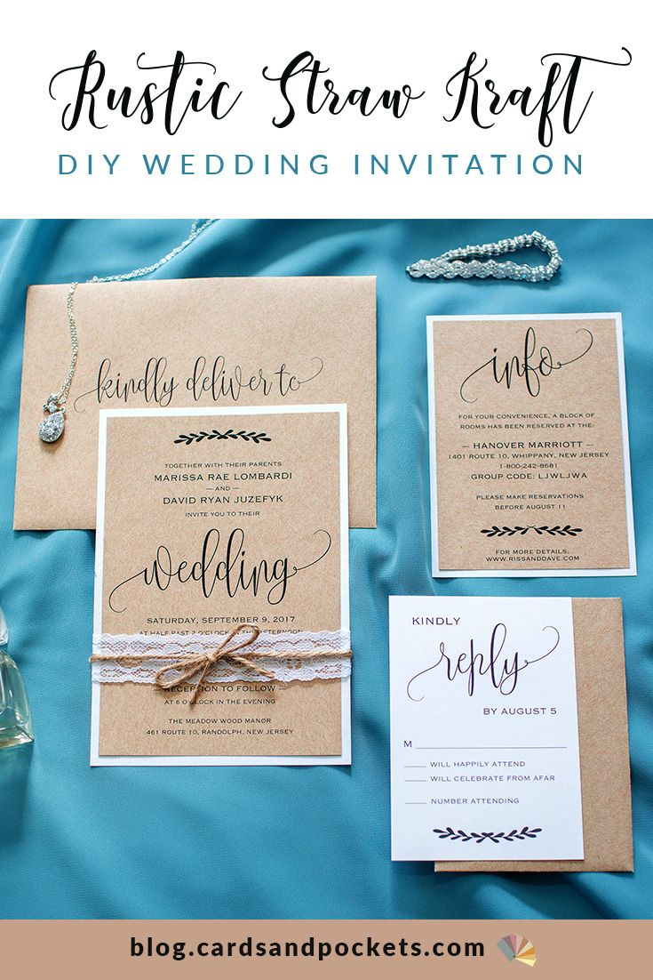 My Diy Story Rustic Straw Kraft Wedding Invitation Cards Pockets Design Idea Blog Fun Wedding Invitations Wedding Invitations Diy Rustic Kraft Paper Wedding Invitation