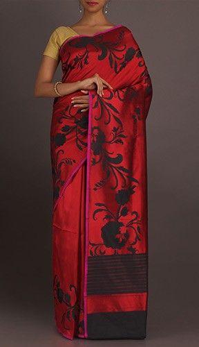 Rohini Shadow Of Bel Ravishing Red Classic Pure Katan Silk Saree