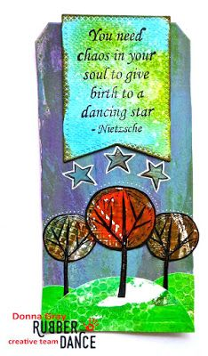 * Rubber Dance Blog *: Mixed Media Tag with Gelli printed trees