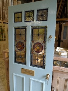 victorian style 7 panel Stained Glass Front Door in white