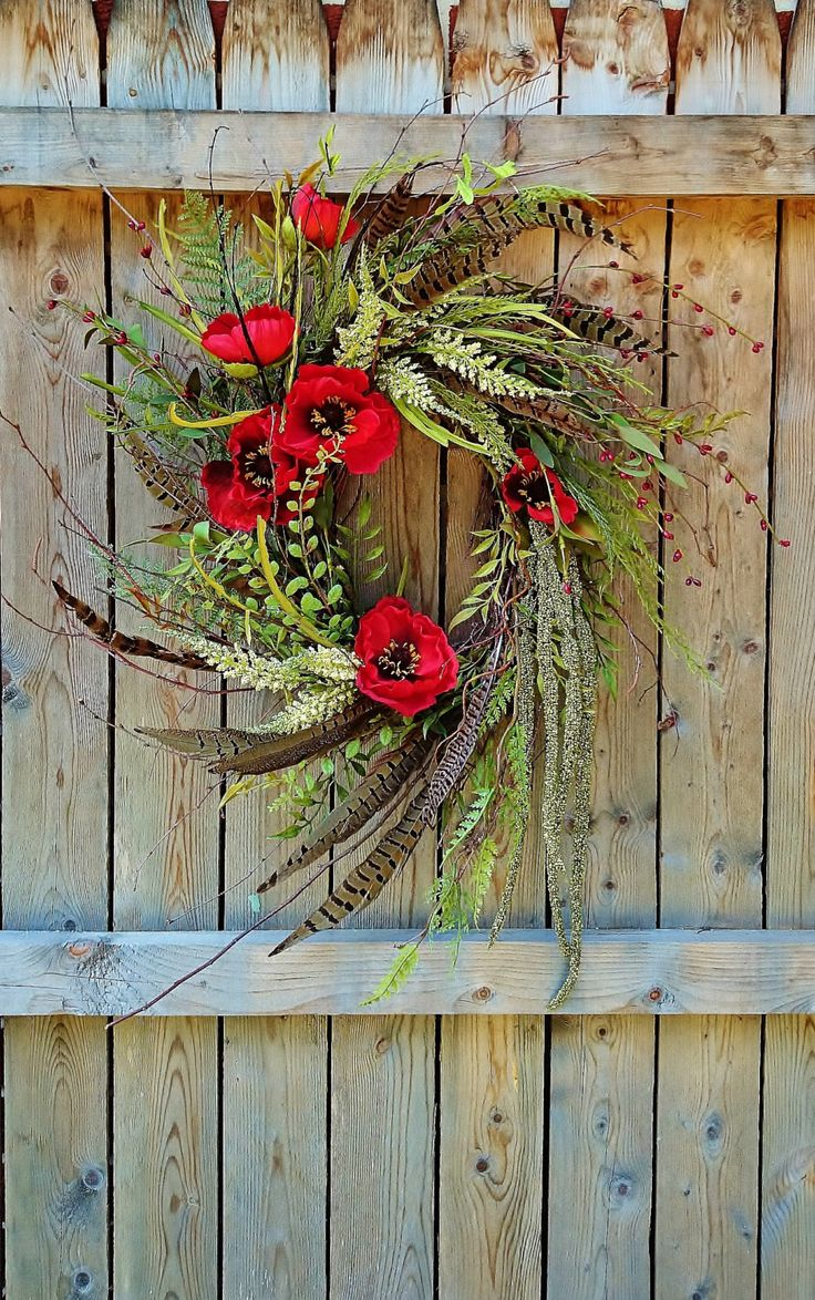 Grapevine Wreath with Pheasant Feathers and Red Poppies, Southwestern Style Wreath, Feather Wreath, W155 by SweetLilysGarden on Etsy