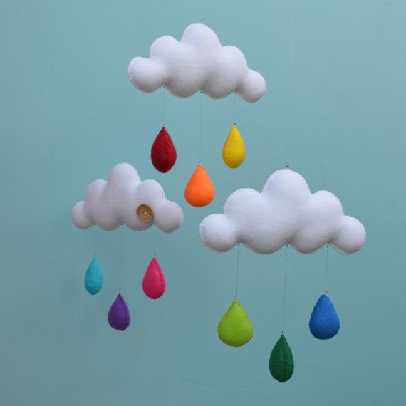 Hand made children's cloud mobile with rainbow and neon raindrops - available via Etsy